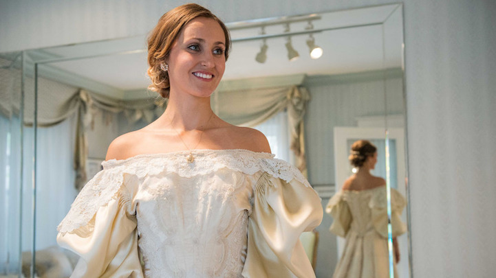 Image #: 39640768 Abigail Kingston tries on a wedding dress, Sept. 22, 2015 that has been passed down in her family for over 100 years and will be the 11th bride to wear it. Easton-area designer Deborah Lopresti (not pictured) put in 200 hours to restore the dress. NJ Advance Media /Landov