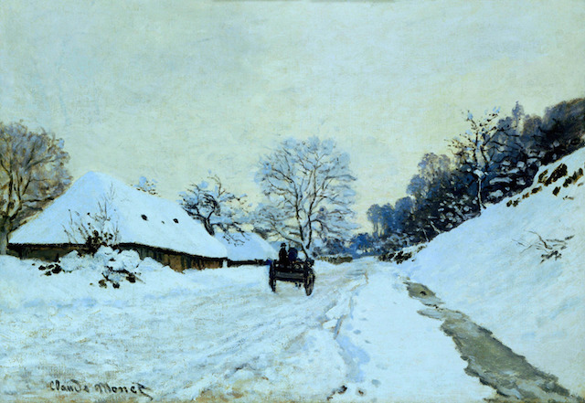 A Cart on the Snowy Road at Honfleur