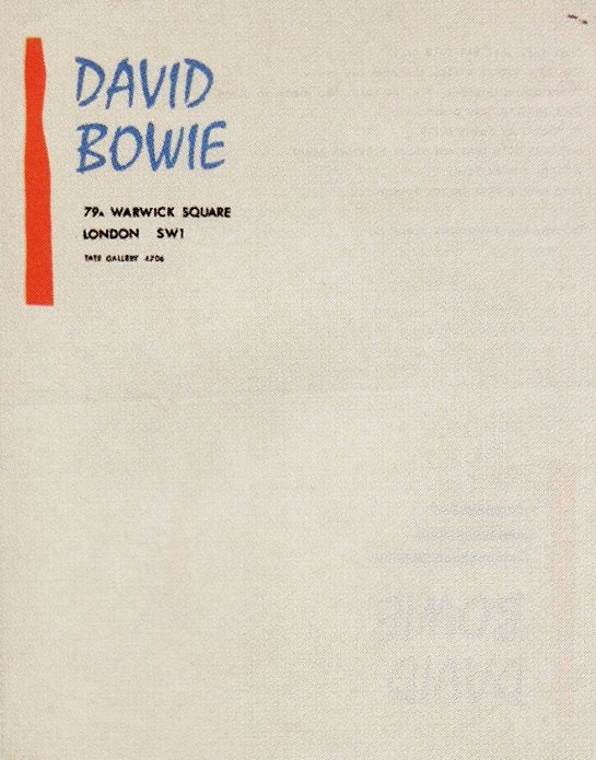 Letterhead used by David Bowie in 1966, a few months after changing his name from David Jones. 8 years later, his stationery looked like this