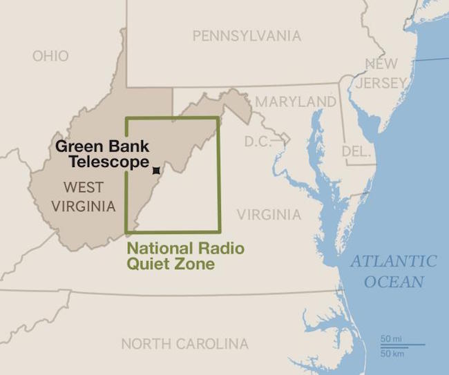 National Radio Quiet Zone national geographic harita 1