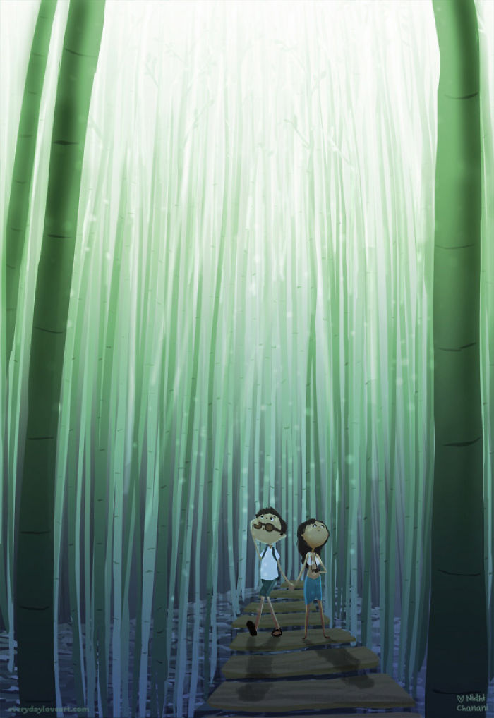 Illustration of couple walking in bamboo forest