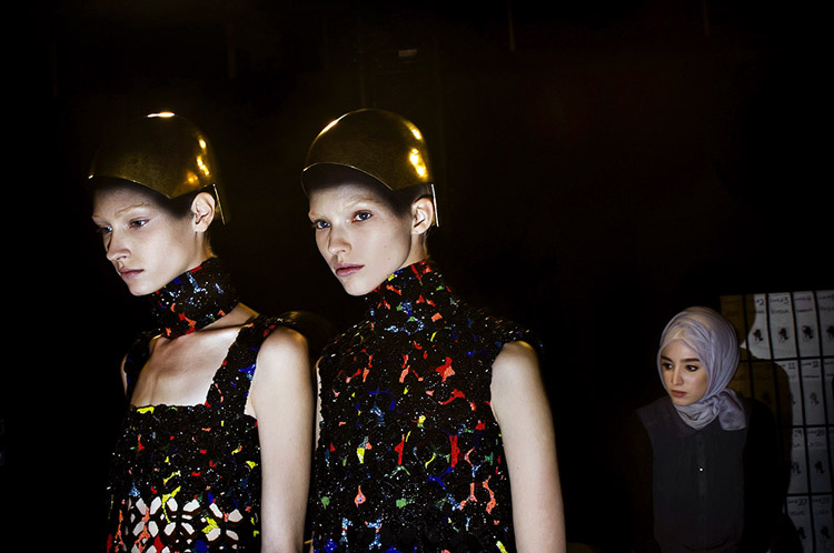 October 1, 2013 - Paris, France. Backstage at the Alexander McQueen fashion show at Paris Fashion Week, Spring 2014.