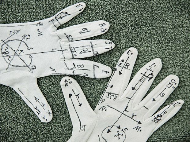 Jörg and Rolf´s parents drew the lorm alphabet on glove. The lorm alphabet was developed by Hiernoymus Lorm in 1881 to enable communication with and between deafblind people. According to the symbols you stroke and tap over the palm of the hand.