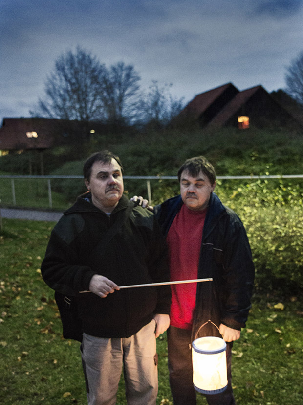 Jörg and Rolf at the yearly lantern walk in Fischbeck. When the facility was expanded, they took there chance to move into to two rooms next to each other in 2012. Before that they lived at their parents´ house.