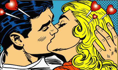 Pop-art cartoon of Man And Woman Kissing