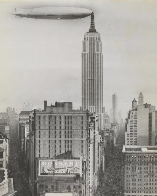 Unidentified American artist Dirigible Docked on Empire State Building, New York 1930