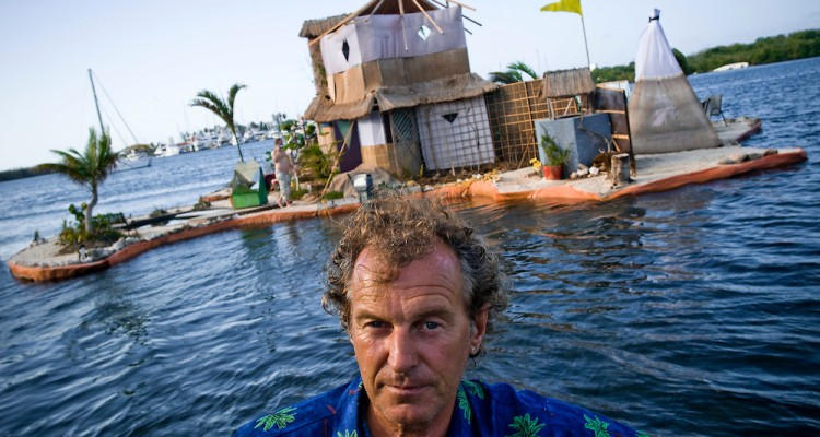 """The New Spiral Island  British environmentalist  and eco-pioneer Richart """"Rishie"""" Sowa, who believes in recycling and low-impact living,  has built his own floating island in a lagoon by Isla Mujeres, Mexico.   The island is built on over 100 000 plastic bottles and is about 20m in diameter. It  has beaches, a house where Sowa lives, 2 ponds, a solar-powered waterfall/river, and solar panels. Mangroves, palmtrees and other plants are growing on it.  This is the second Island Sowa has built; The first was destroyed in a hurricane in 2005."""