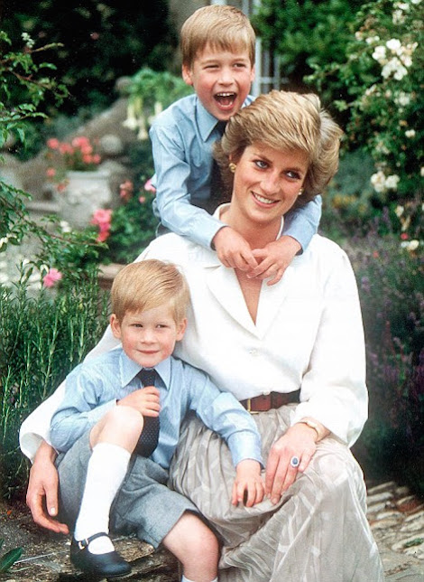 Diana Princess of Wales with her sons Prince William and Prince Harry at Highgrove in 1988.