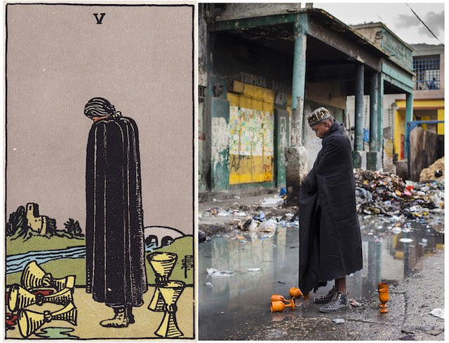 The Five of Cups is a card that signifies difficulty, loss, and the challenges of dealing with that loss. The figure in the card wears a black cloak in which he hides his face in apparent despair. At his feet are five cups, three of which have fallen and spilled onto the ground and the other two behind his back remain standing. He does not seem to notice these upstanding cups because he is so focused on the fallen cups instead. Ahead of him water flows between himself and a home in the distance. Behind him is a path that can lead him to the security of the house across the water. Despite the fact that this card has a strong indication of loss and tribulation, there is a positive aspect that must be considered. Is your cup half full or half empty?